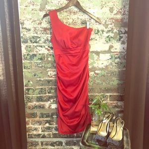 Red Dress One Shoulder, Rubber Ducky, ruched 37.5""